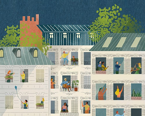 Illustration of people talking on different balconies